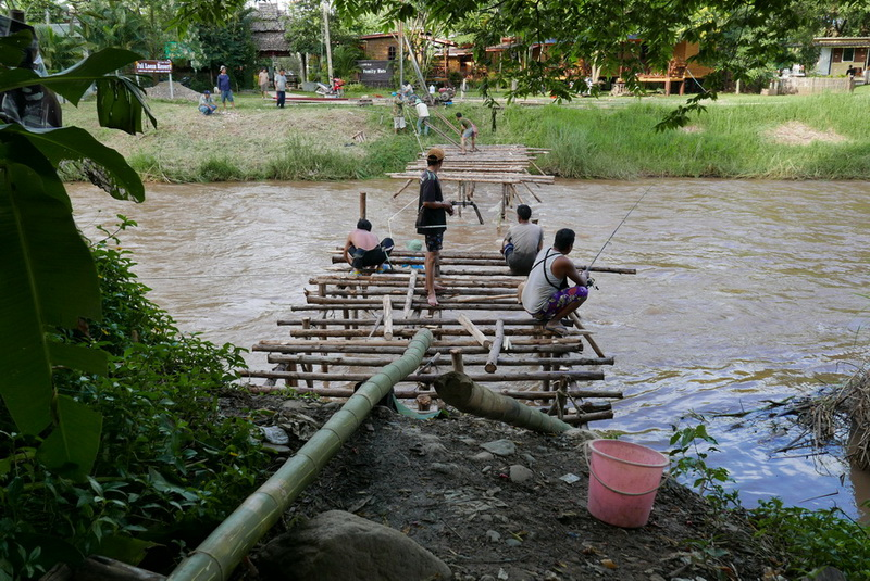 Building a New Bamboo Bridge Over the Pai River